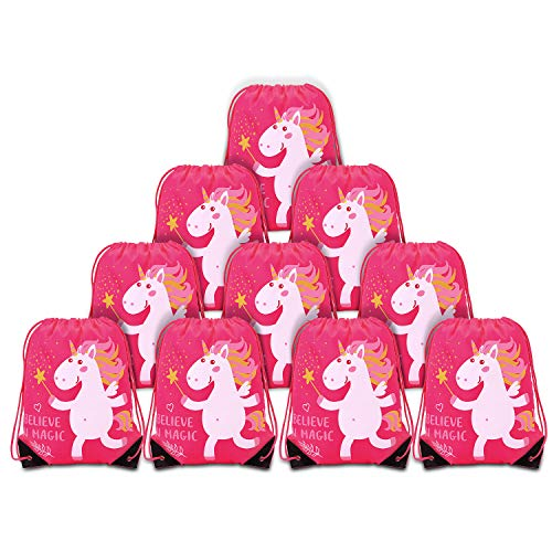 MORDUN 10 Unicorn Party Favor Bags| Goodie Bags| Treat Bags| Drawstring Backpacks for Kids Birthday Party, Baby Shower, First Birthday - Pink