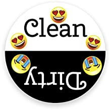 Dishwasher Emoji Magnet Clean Dirty 3 inch Black & White Round Magnet - Funny Emojis Face Strong Fridge Kitchen Magnet for Home Decor, Gift for Men & Women, or Party Favors, Made in USA