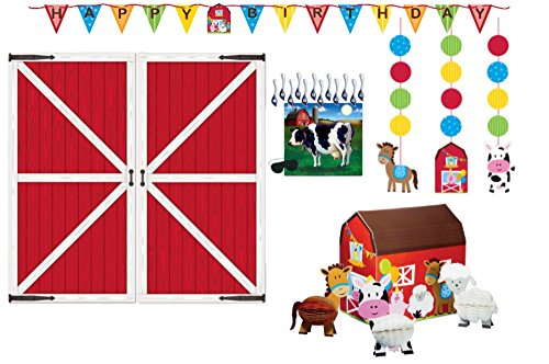Barnyard Party Decorations Supply Pack - Farmhouse Themed Bundle Includes: Hanging Cutouts, Banner, Centerpiece, Barn Door Props, and Pin -The-Tail- On the Cow Game for $<!--$30.42-->