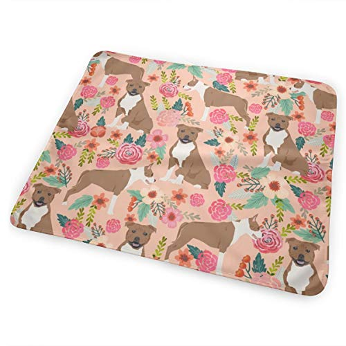 (Staffordshire Terrier Dog Cute Florals Vintage Flowers Sweet Dog Dogs Pet Dog Peach Baby Portable Reusable Changing Pad Mat 31.5x21.5 inches)