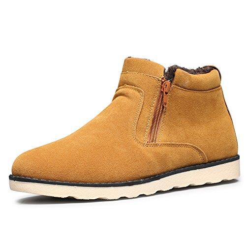 JACKSHIBO Herren Winter Wildleder Stiefeletten Mode Light Desert Boots Kurzschaft Stiefel Gelb