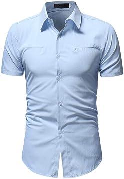 CHENS Camisa/Casual/Unisex/XL Camisa de Verano para Hombre Talla Grande Moda Color sólido Hombre Casual Camisa de Manga Corta Camisa de Vestir de Negocios: Amazon.es: Deportes y aire libre