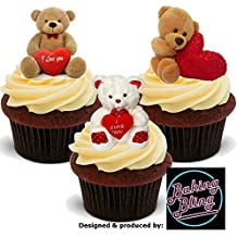 12 x Valentine Teddy Trio Mix A Cute Cuddly Valentines - Fun Novelty PREMIUM STAND UP Edible Wafer Card Cake Toppers Decoration