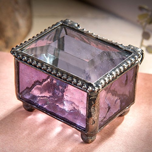 J Devlin Box 325-2 Mini Jewelry Keepsake Box Purple Stained Glass Gift for Her Ring Bearer Box Wedding Engagement Gift Trinket Box (J Ring Glass)
