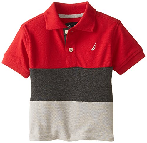 Nautica Baby Boys' Short Sleeve Colorblock Pique Polo, Red Rouge, 18 (Colorblock Pique Polo)