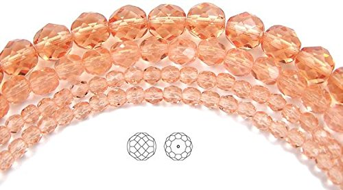 8mm (153 beads) Light Peach, Czech Fire Polished Round Faceted Glass Beads, 3x16 inch strand