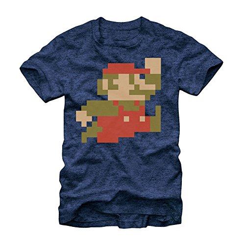 Nintendo Super Mario Bros 8-Bit Pixel Sprite T-Shirt-Navy Heather (XX-Large)