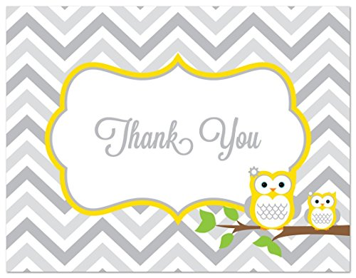 50 Cnt Yellow Owl Baby Thank You Cards by MyExpression.com LLC (Image #2)