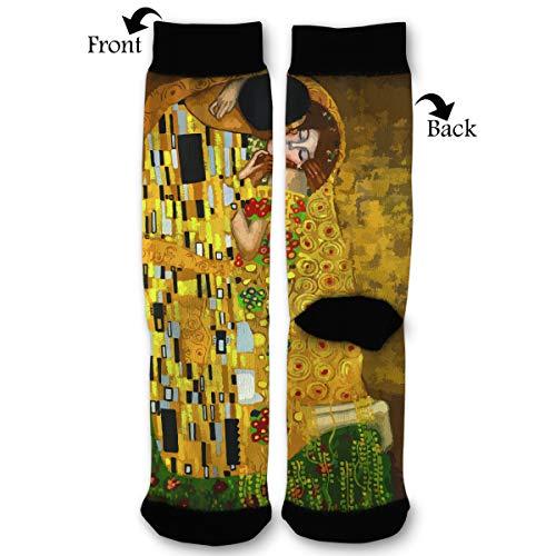 Unisex Fun Novelty Crazy Crew Socks Gustav Klimt Kisses Dress Socks
