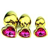 Newest Heart Shape Stainless Steel Metal Jewelry Crystal Anal Toy Sex Products Anal Plug Butt Plug for Sex Fun,Small Size GS0312 Rose red