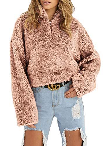 Sidefeel Women Long Sleeve Zip Neck Fleece Pullover Crop Top Outwear Large (Folded Collar Long Sleeve)