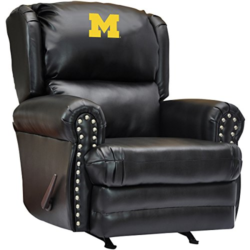 Michigan wolverines recliner michigan leather recliner for Leather sofa michigan
