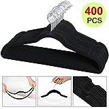 go2buy Standard Velvet Suit Hangers Non slip Clothes hangers (400pcs, Black)
