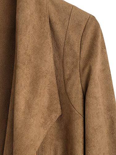Lunghe Fashion Autunno Kaffeebraun Maniche Zip Chic Tempo Vintage Cappotto Outerwear Ragazza Libero Donna Giubbino Primaverile Asimmetrico Pelle Finta Eleganti Giacche Scamosciata 8aOFqRnw