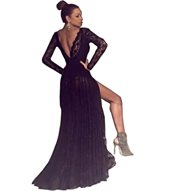 Chady Sexy Black Lace V Neck Long Prom Dresses 2017 Cheap Backless Long Sleeves Evening Dress