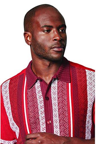 Edition S Men's Short Sleeve Knit Shirt- California Rockabilly Style: Diamond Plate Design (3XL, RED)