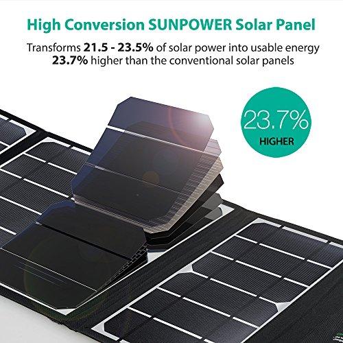 Cargador solar RAVPower Panel solar de 24 vatios con 3 puertos USB Cargador de viaje plegable impermeable para camping Compatible con iPhone Xs XS Max XR X 8 7 Plus, iPad, Galaxy S9 S8 Note 8 y más, negro