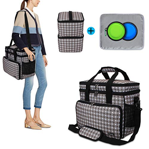 Teamoy Double Layer Dog Travel Bag with 2 Silicone Collapsible Bowls, 2 Food Carriers, 1 Water-Resistant Placemat, Pet Supplies Weekend Tote Organizer(Medium, Gray Dots)
