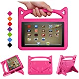 Fire 7 Tablet Case - Bromee Light Weight EVA Shock Proof Handle Friendly Folodable Stand Kids Case for Amazon Kindle Fire 7 inch Display Tablet(Compatible with 7th Generation & 5th Generation) - Pink