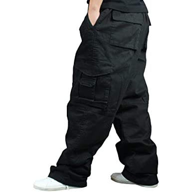 87ea267f091 Men Plus Size Cargo Trousers Outdoor Dance Pants Loose Baggy Hip Hop Pocket  Black