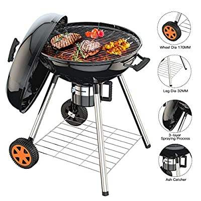 Charcoal Grill, 22.5 inch Diameter Practical Advanced Double-layer Grid Portable Grill, Reinforced 1.25 inch Thickened Steel Support Frame BBQ Grill, One-touch Clean System(Ash Leak)with Storage Shelf by TACKLIFE