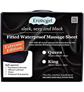 Eroticgel Extreme Queen Black Waterproof Fitted Massage Sheet Safe Against Oil amp; Silicone Hypoall...