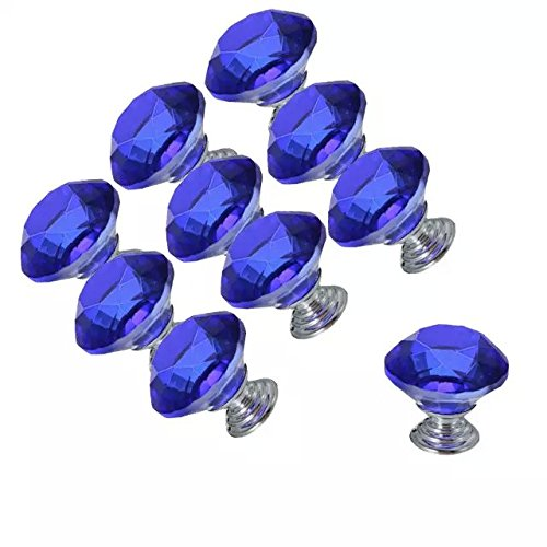 CSKB 10 PCS Blue 30mm Crystal Glass Diamond Cut Door Knob Drawer Cabinet Furniture Kitchen Wardrobe Dresser Pull Handle