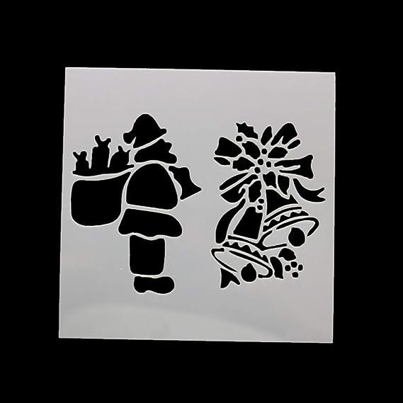 Amosfun Frohe Weihnachten Malvorlage Graffiti Zeichenwerkzeuge aush/öhlen Malschablonen Spielzeug f/ür Kinder 13x13cm 7 STK