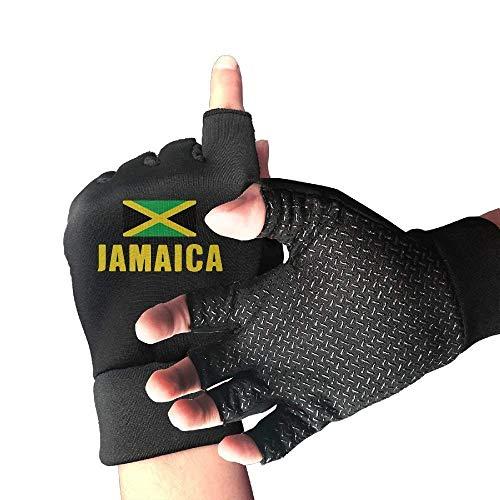 HU MOVR Mountain Bike Shockproof Jamaica Flag 1/2 Finger Short Gloves Outdoor Sports Working Gloves -