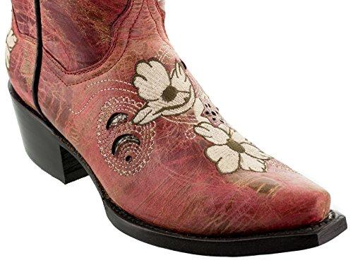 Cowboy Profesjonelle Kvinners Noruega Røde Blomster Skinn Cowboy Boots Avklipt Toe Rødt