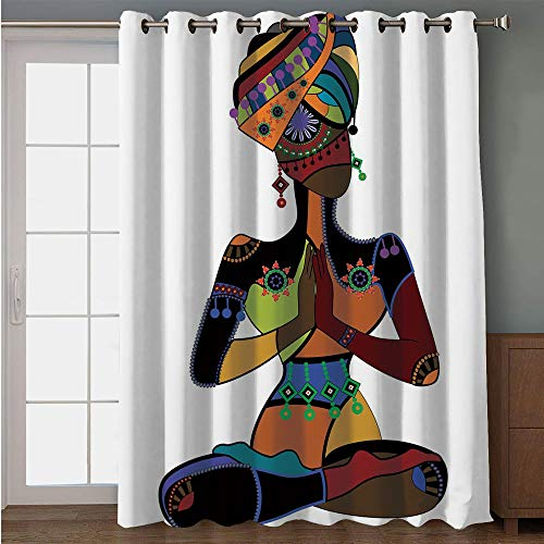 Curtain,Yoga,Woman Figure in Ethnic Style Costume Praying Culture Religion Enlightenment Grace Decorative,Multicolor,for Sliding & Patio Doors, 102