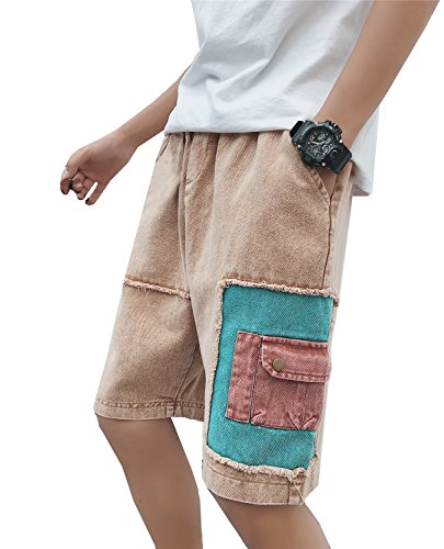 Mens Casual Cargo Patchwork Denim Jeans Shorts W/Pockets (Brown, Medium) (569 Shorts Straight Loose Jean)