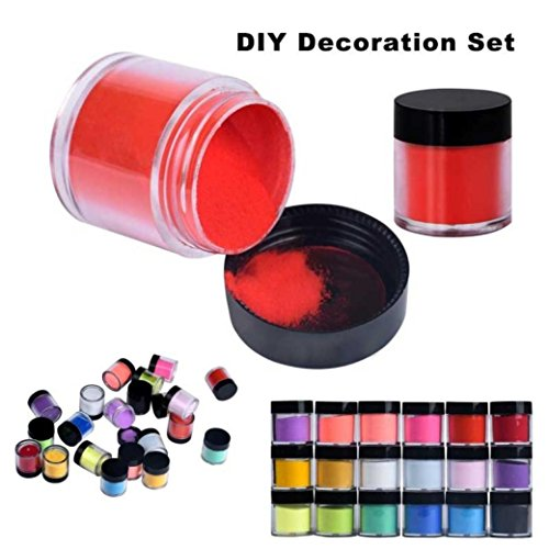 Dreamyth 18 Colors Acrylic Nail Art Tips UV Gel Powder Dust Design Decoration 3D DIY Decoration Set,American Warehouse Shippment by Dreamyth