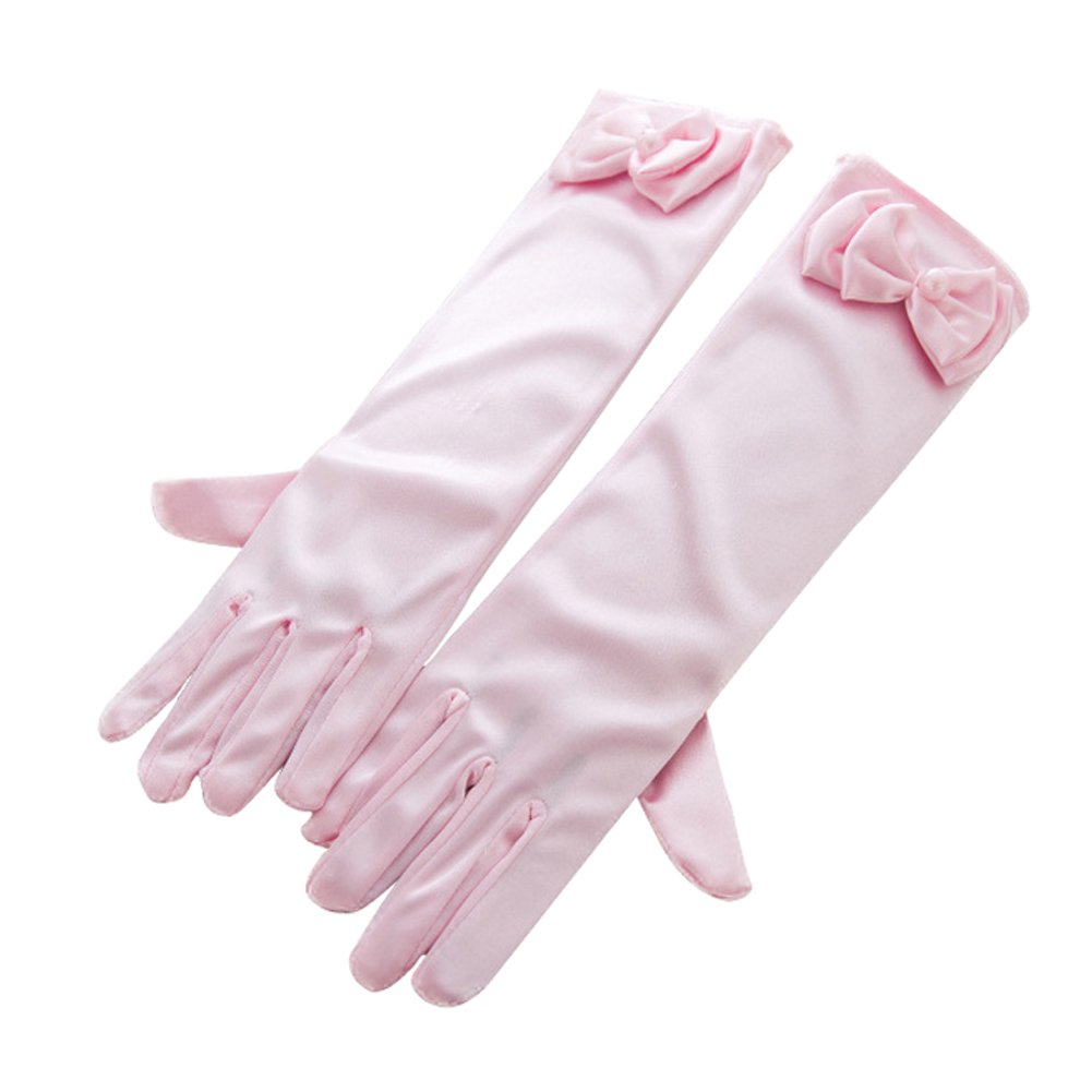 Girls Long Gloves Wedding Formal Pageant Glove Princess Dress Accessories (Pink)