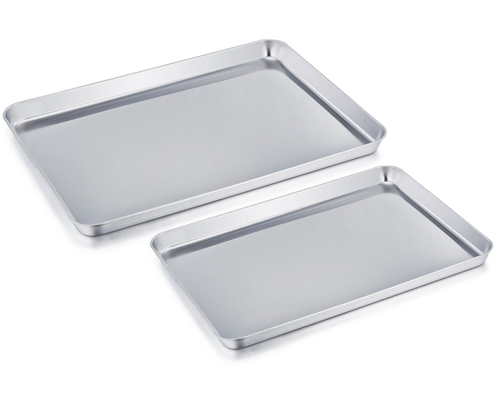 TeamFar Baking Sheet Cookie Sheet Set of 2, Pure Stainless Steel baking Pan Tray Professional, Non Toxic & Healthy, Mirror Finish & Rust Free, Easy Clean & Dishwasher Safe by TeamFar
