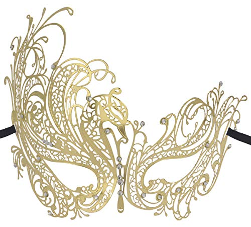Coxeer Gold Elegant Lady Masquerade Halloween Mardi Gras Party Mask -
