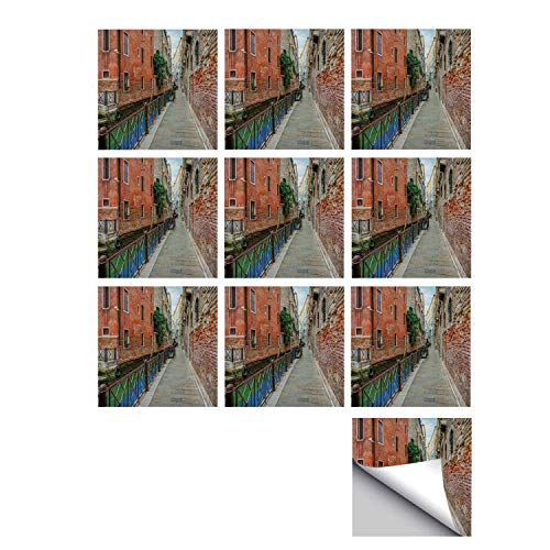 - C COABALLA Venice Stylish Ceramic Tile Stickers 10 Pieces,Empty Idyllic Streets of Venezia Travel Destination Romantic Vacation Old Buildings for Kitchen Living Room,5