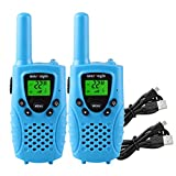 wesTayin Rechargable Walkie Talkies for Kids, 4 Miles Long Range Walkie Talkies for Adults with Durable Shape and Flashlight, 2 Pack, Batteries not Included(Blue)