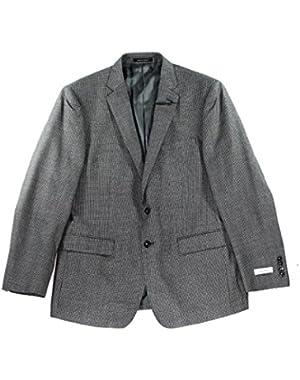 Calvin Klein Black Mens Houndstooth Wool Jacket Gray 42R