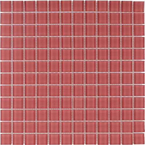 MTO0369   Modern Uniform Squares Red Glass Mosaic Tile