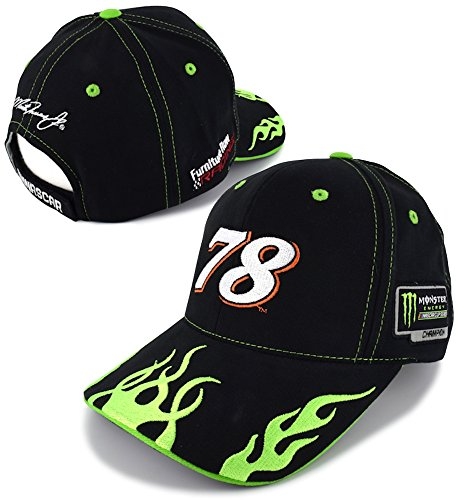 Flame Cap (Checkered Flag Martin Truex Jr 2017 Monster Energy NASCAR Cup Series Champion Big Number Flames Hat)