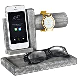 Deluxe Wood Valet Tray with Watch bar, Cell Phone Cradle and Jewelry Organizer Base, Gray