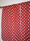 Red and white polka dots curtain - 2 panels/ Tiers - Window / Kitchen, Bath, Laundry, basement, office kids daycare schools, Kitchen cafe curtains 36