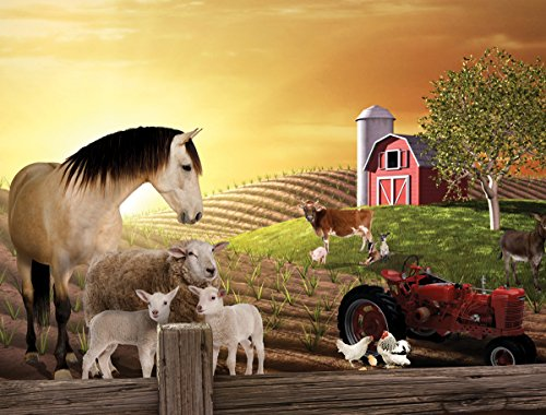 JP London PMUR2006 Peel and Stick Removable Wall Decal Sticker Mural, Animal Farm Sepia Horse, 4 x (Farm Wall Stickers)