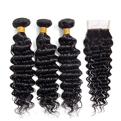 Bundles With Closure Brazilian Deep Wave 3 Bundles With Closure 100% Human Hair Weave Bundles With Closure Non Remy,12 12 14 with 10,Free Part]()