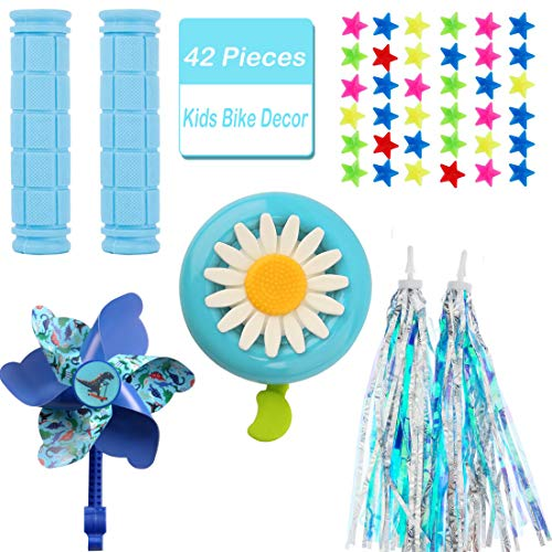 MeiMeiDa Bike Accessories for Kids Boys Bike Bicycle Decorations Including Blue Bike Handlebar Grips, Bike Streamers, Star Bike Wheel Spokes, Flower Bell and Pinwheel