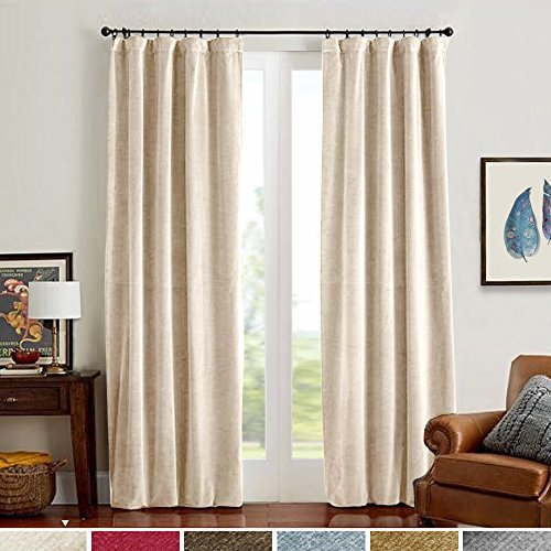 Half Blackout Velvet Curtain Panels, Rod Pocket Drapes for Bedroom Window Curtains, Thermal Insulated Rod Pocket (1 Panel, 84 Inches, Beige)