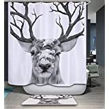 Izielad Deer Animal Fabric Shower Curtain Waterproof Bathroom Decor
