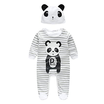 3a1212a36f Huangou Baby Boy Girl Romper Animal Print Jumpsuit Playsuit Outfits with  Hat Long Sleeve Jumpsuits (