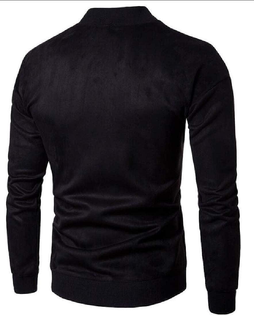 desolateness Men Blouse Autumn Winter Long Sleeve Sweater Pullover Suede Outwear